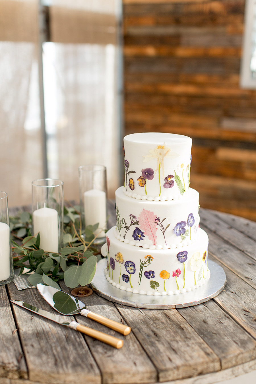 pressed flower garden wedding cake