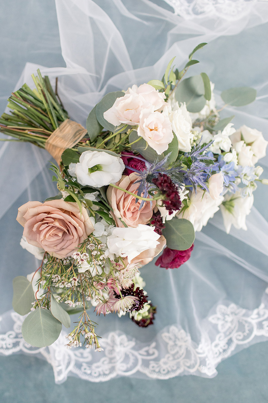 Bride's berry and blush wedding bouquet