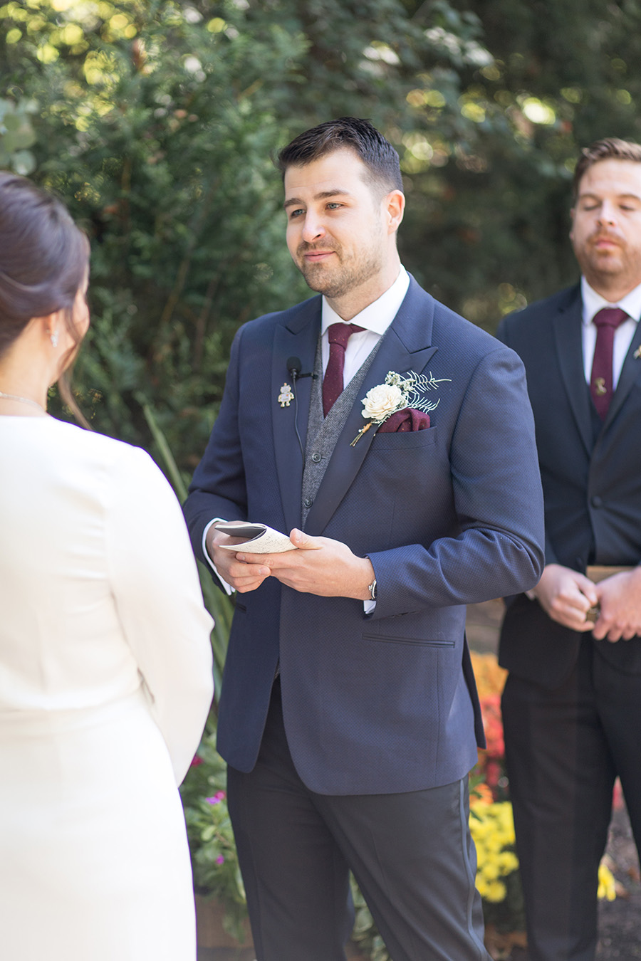 Groom reads his wedding vows at Olde Mill Inn