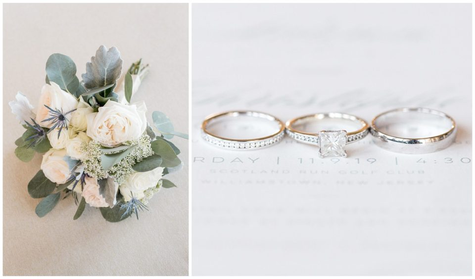 classic wedding ring set and cream and sage wedding bouquet