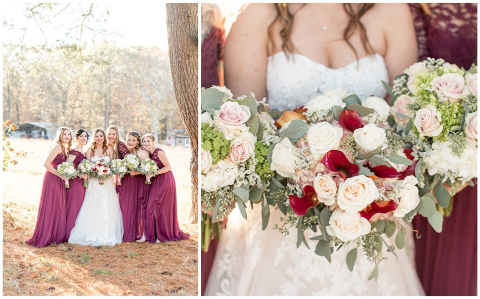 bridesmaids with pink, red and white bouquets