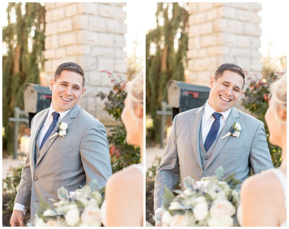 groom's first look reaction