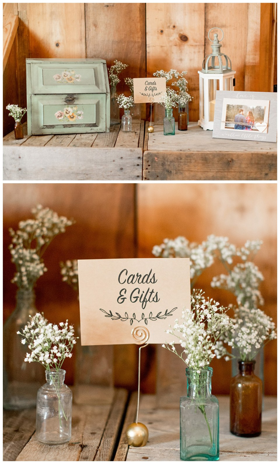 country rustic wedding cards and gift table in the barn at Turkey Trac farms