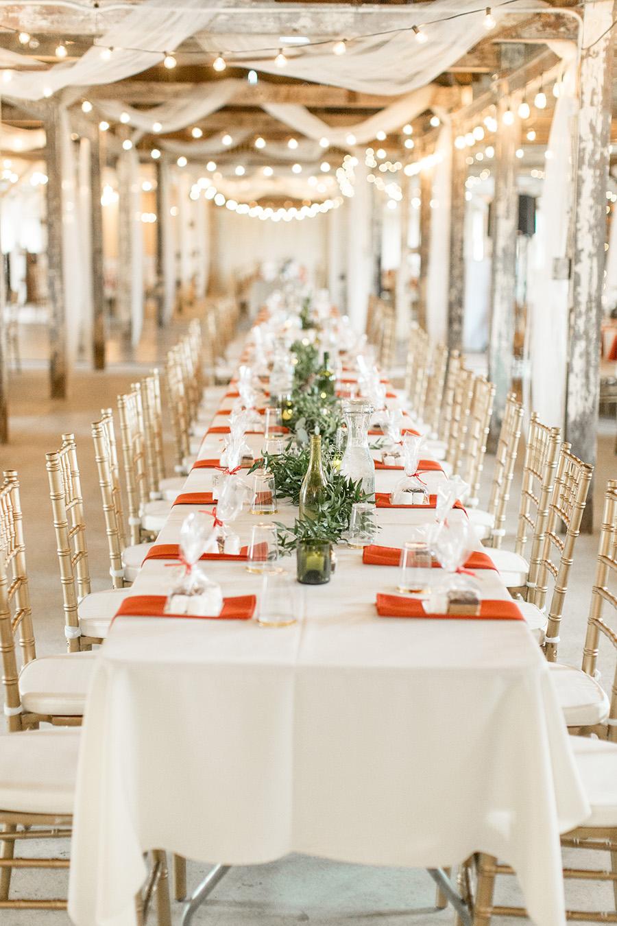 long wedding tables at Eagle Manor