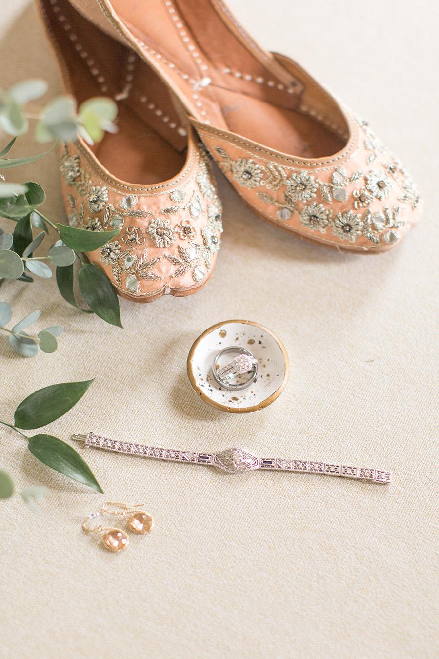 bride's peach embroidered ballet wedding flats