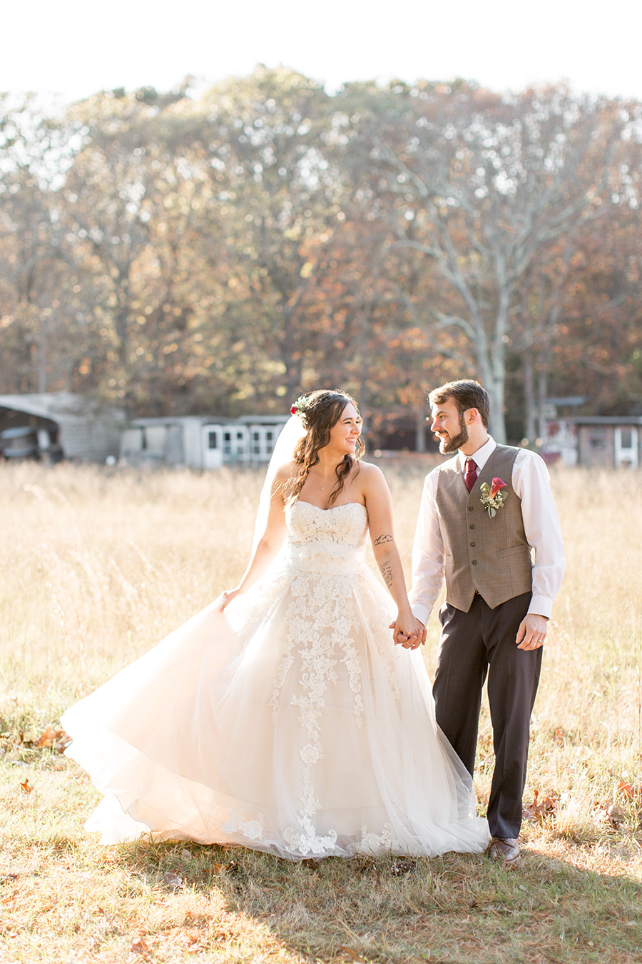 rustic wedding portraits in the field by Turkey Trac farms