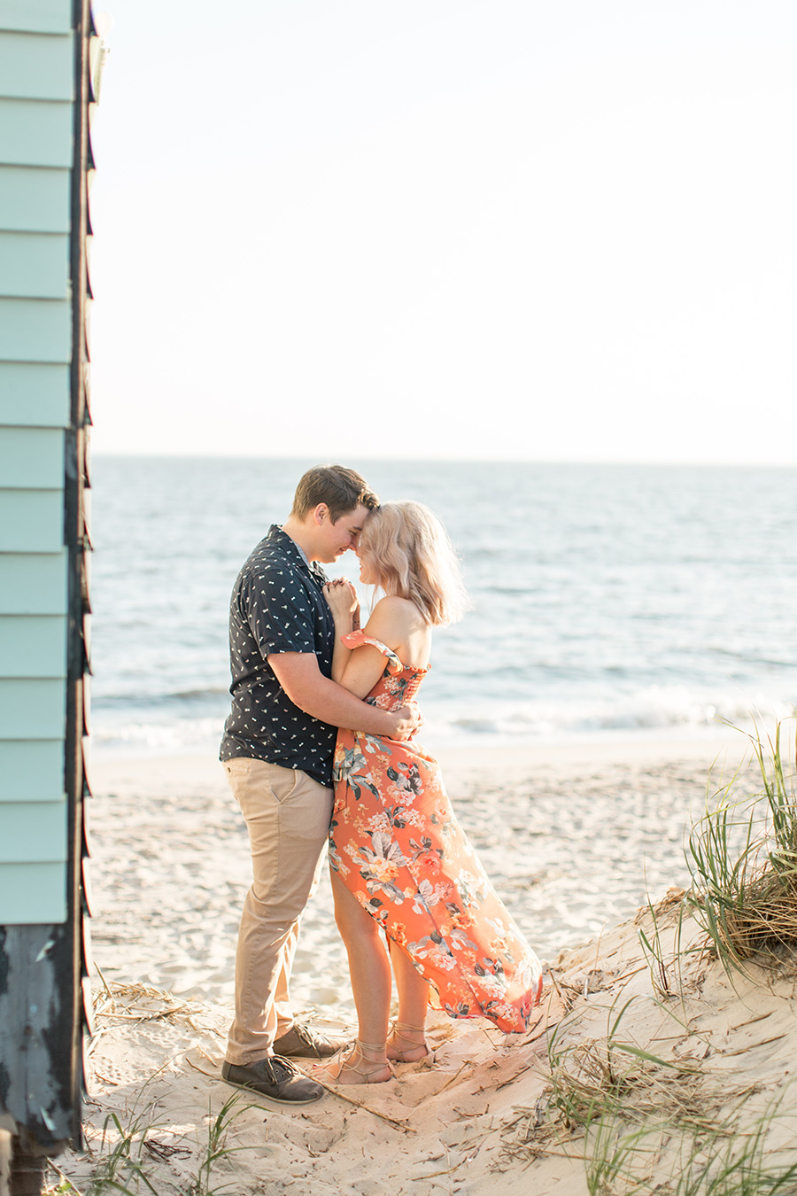 beach engagement session at jersey shore