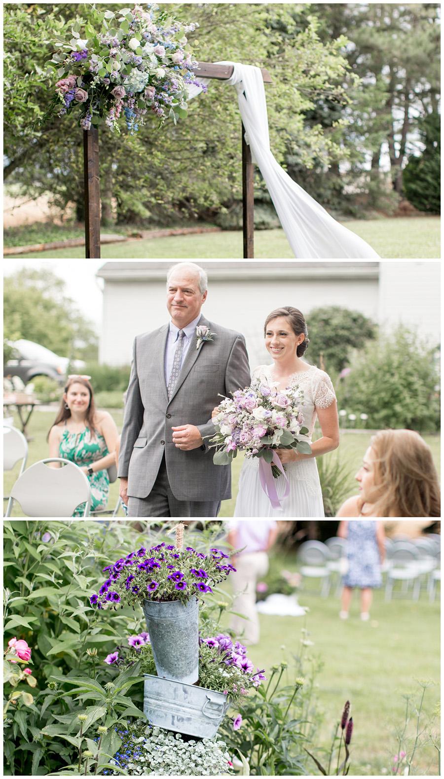 wedding ceremony arch in the bride's backyard