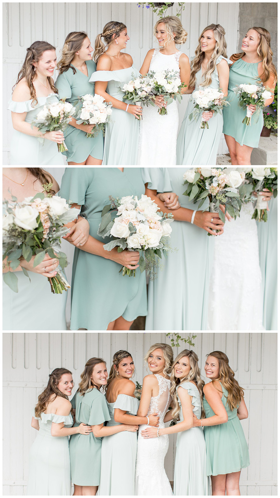 bride and her girls in sage and eucalyptus bridesmaid dresses