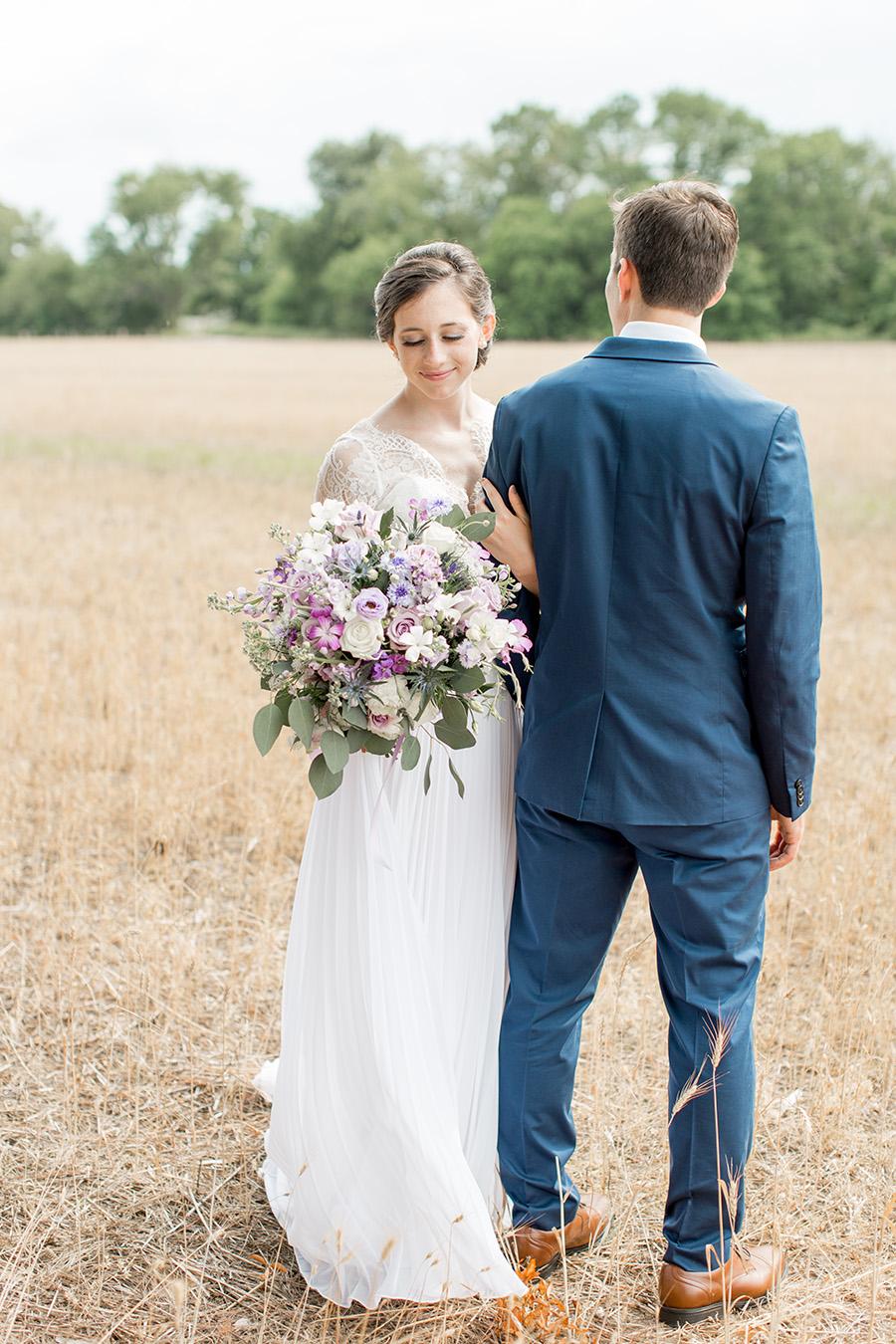 wedding portraits in an open field