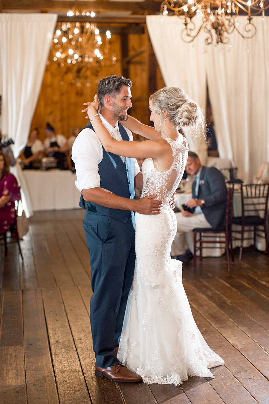 first dance as husband and wife in the barn at melhorn manor