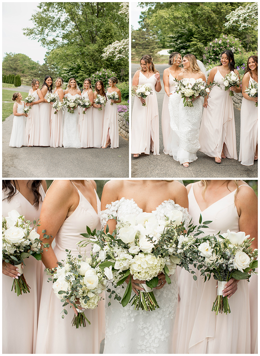 The bridesmaids wore long, blush bridesmaid dresses and carried white and cream bouquets