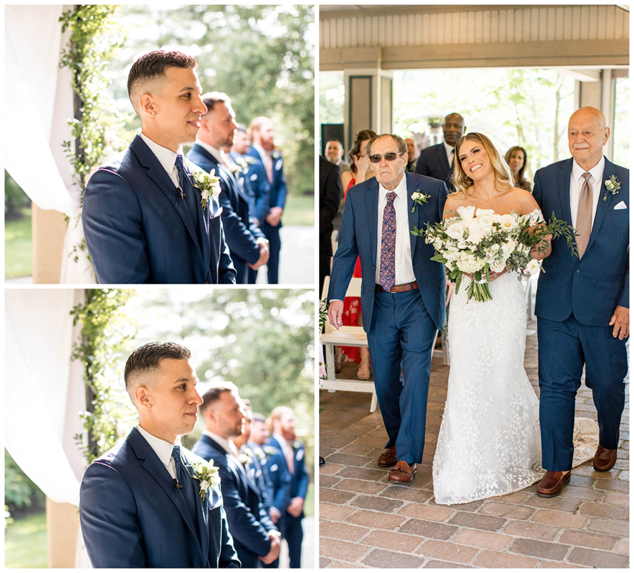 Their wedding ceremony was in the outdoor pavilion at Scotland Run