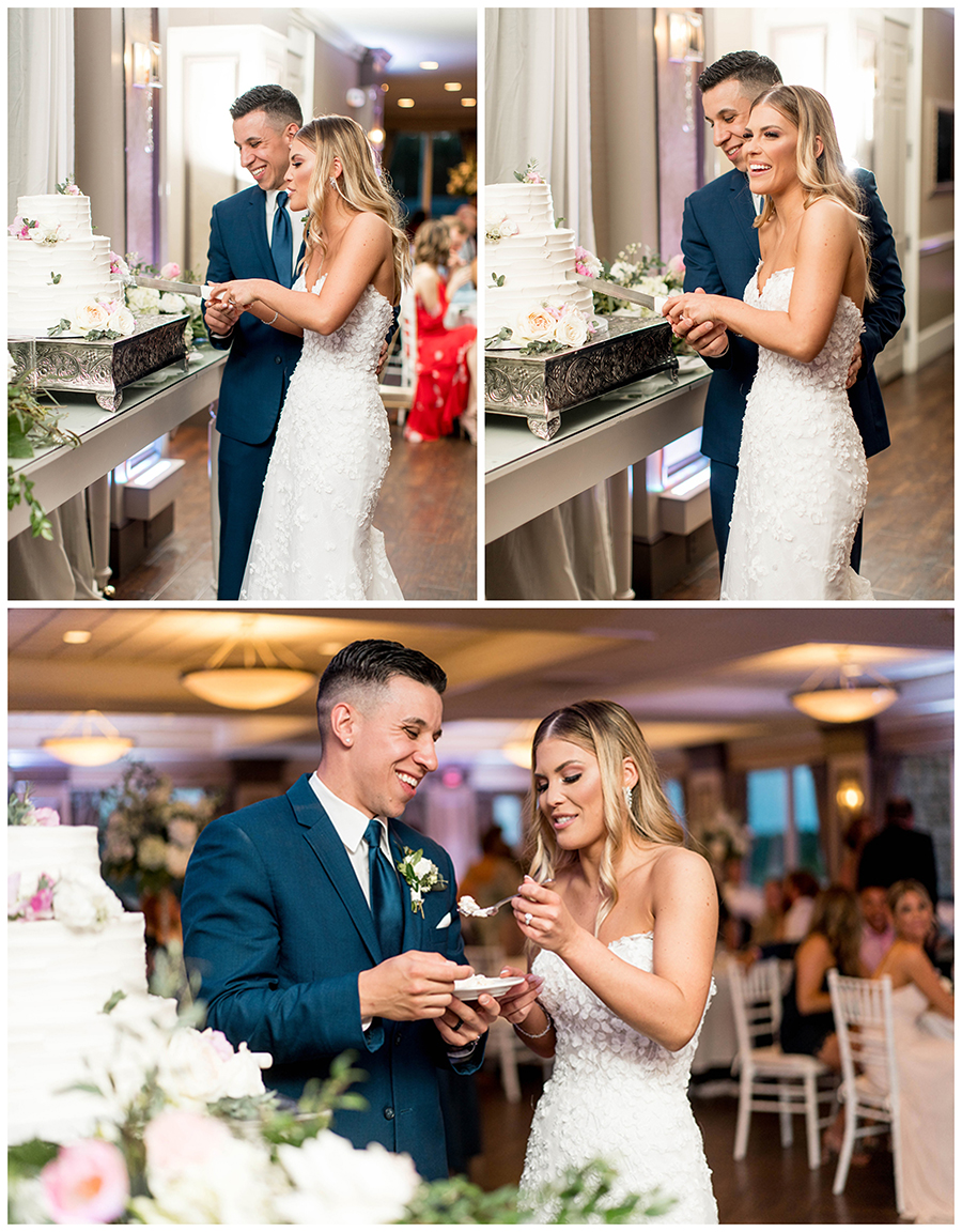 the bride and groom cuts their wedding cake together