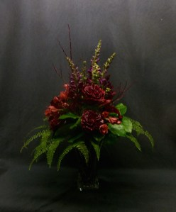 picture of Red Garden Rose arrangement with Snapdragon and Alsroemeria