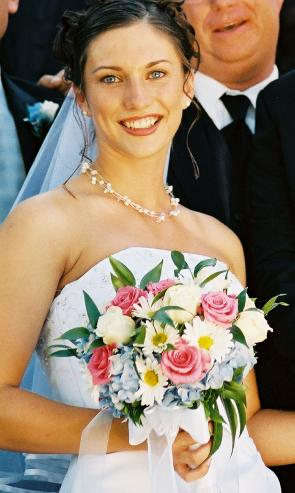 picture of bride and her bouquet