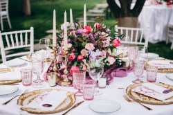 Pink and purple wedding table decoration