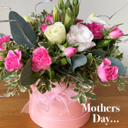 Pink hatbox with pretty flowers mothers day