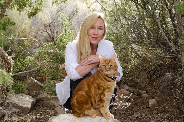Red Tubby Cat Tabasco and His Human Friend Molly Devoss. Outdoor Cat photograph in sunset by Pet Angel