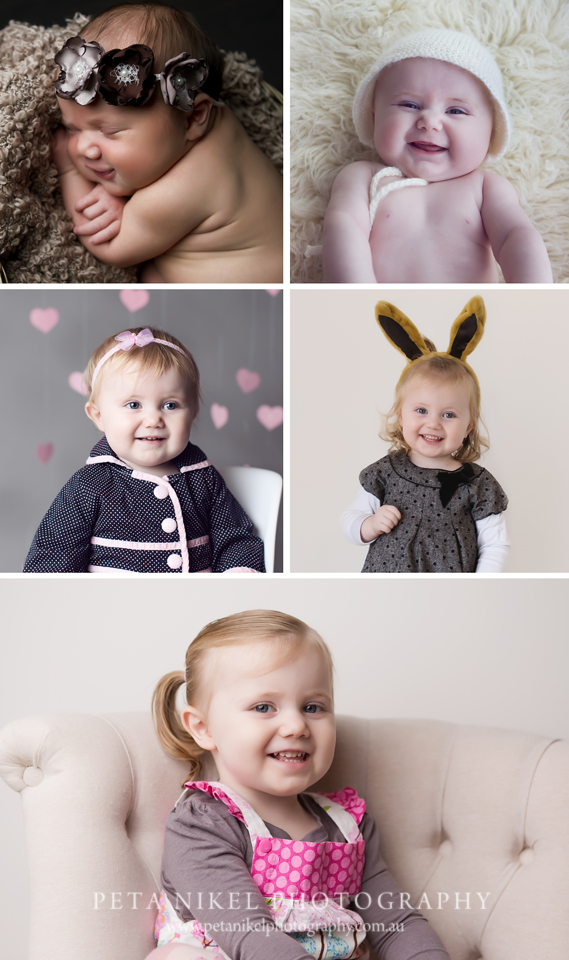 A collection of baby photos taken over 2 years. Lovely memories.