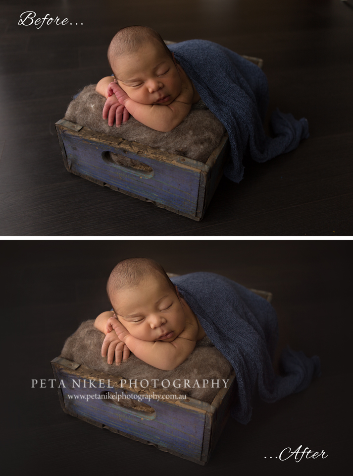 Before and after edit newborn photography