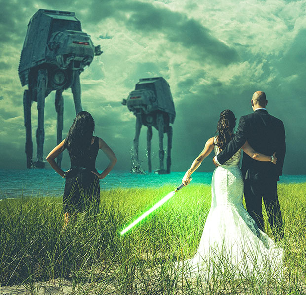 Star Wars themed Wedding Photo Shows Newlyweds Battling the Empire closer