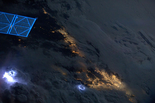 Lightning Storms Photographed From High Above in Space lightning