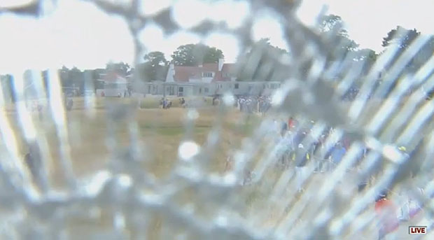 Golfer Strikes and Shatters the Lens on an $  80,000 Camera at the British Open shattered