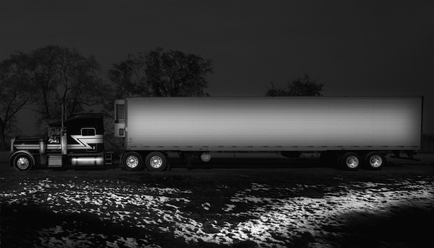 Black and White Night Photos of Dormant 18 Wheelers at Truck Stops blackdog10