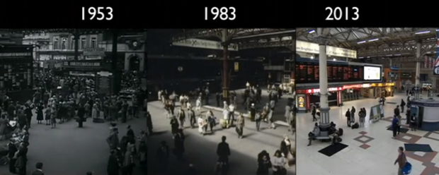 Time Lapse Captures the Train Ride from London to Brighton in 1953, 83 and 2013 londontrain