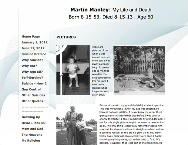 Man Puts Up Website and Photo Memorial of His Life Before Committing Suicide manley1