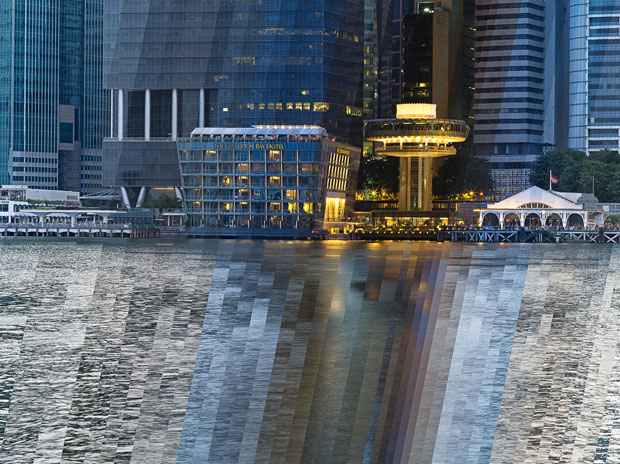 These Creative Time Slice Photo Collages Blend Day and Night night day Fullerton bay hotel slanted slit flat