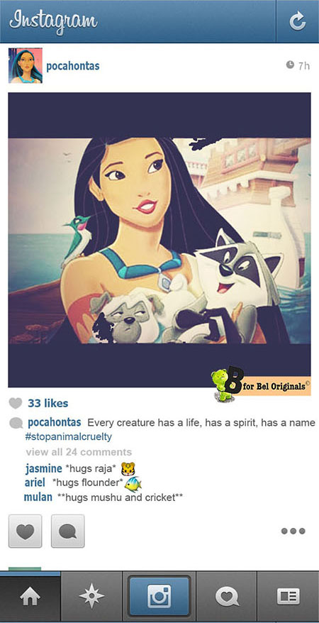 Humor: What if Disney Princesses Shared Photos on Instagram? pocahantas