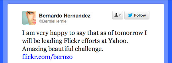Flickr Gets a New Leader: Former Google Exec Bernardo Hernández twittermsg