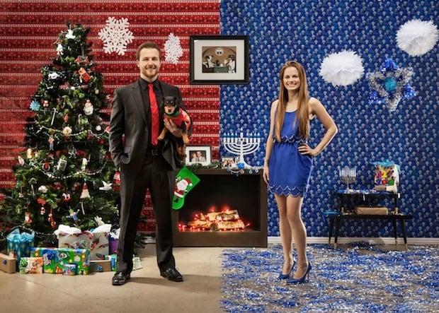 Creative Photographer Couple Shoots Half Christmas Half
