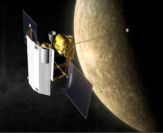 An artist's rendering of MESSENGER orbiting Mercury.