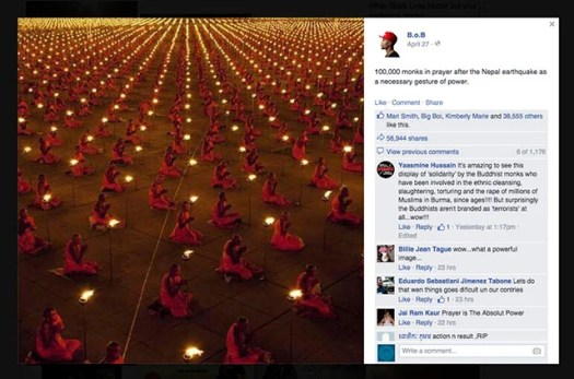 American Hip-Hop artist B.o.B. posted the image on his Facebook page—that post alone received nearly 60,000 shares.