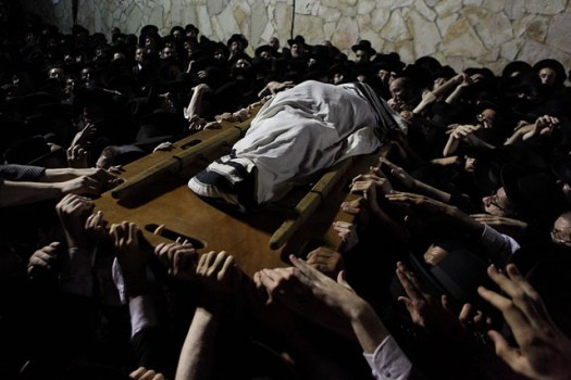 Orthodox Jews at the funeral of one of the most important rabbis in the twentieth century - Rabbi Elyashiv.