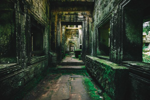 Endless corridors of Preah Khan, one of the largest complexes of Angkor