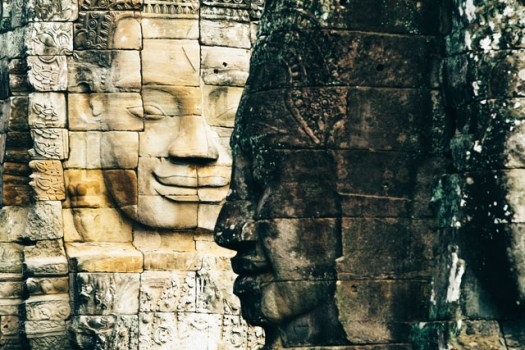 Bayon temple is known for its many  smiling faces.