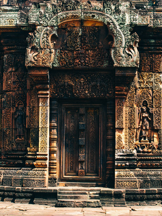 The amazing carvings of Banteay Srei, the citadel of woman. Considered the most beautiful of all the temples and the carvings some of the most intricate to be found anywhere in the world.