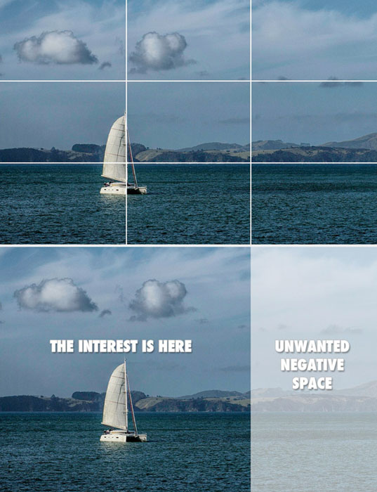 Photograph showing how the rule of thirds creates unwanted negative space.
