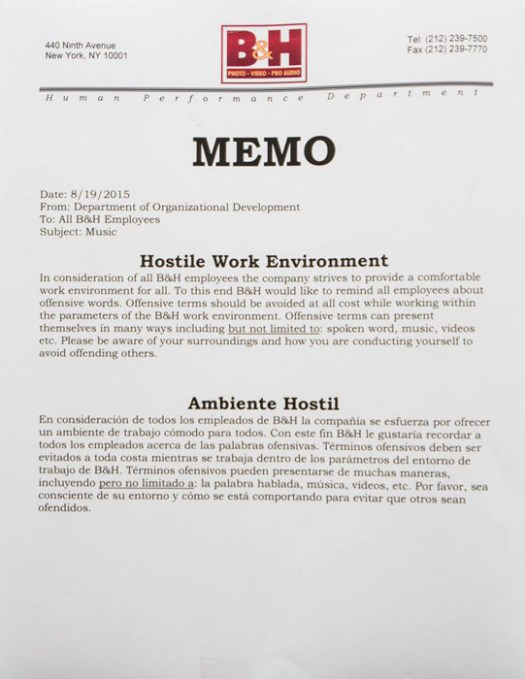 Hostile Work Notice