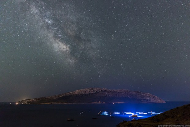 The Milky Way over the private island of Patroklos in the Saronic Gulf, 60km southeast of Athens, at the southernmost tip of the Attica peninsula in Greece.