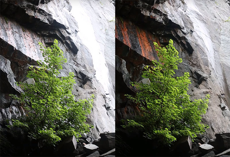 Heaton shows how a circular polarizer can transform the look of a waterfall scene.