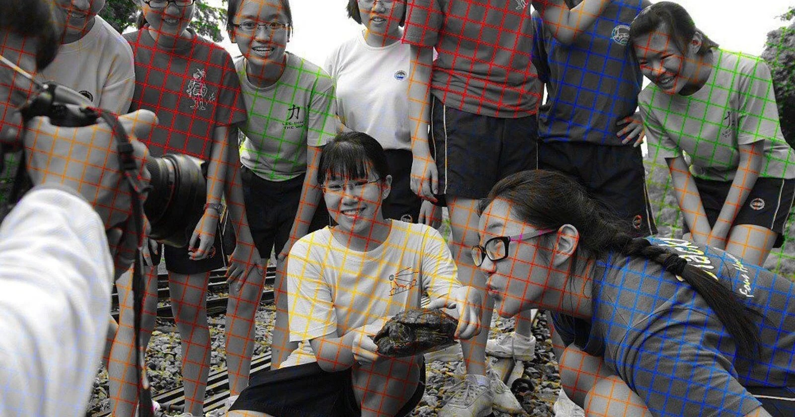 This Black And White Photo Uses Color Grid Lines To Trick