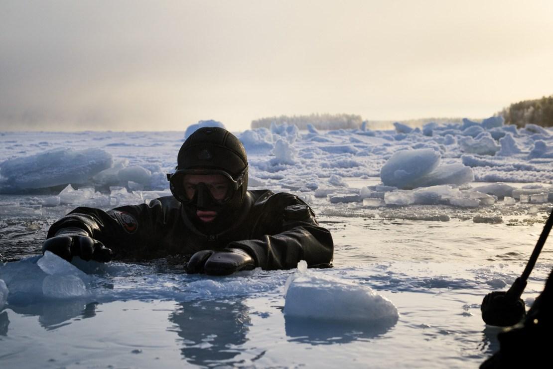 Alexander Semenov in an icy sea