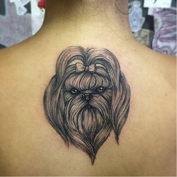 tatuagem de shih tzu nas costas