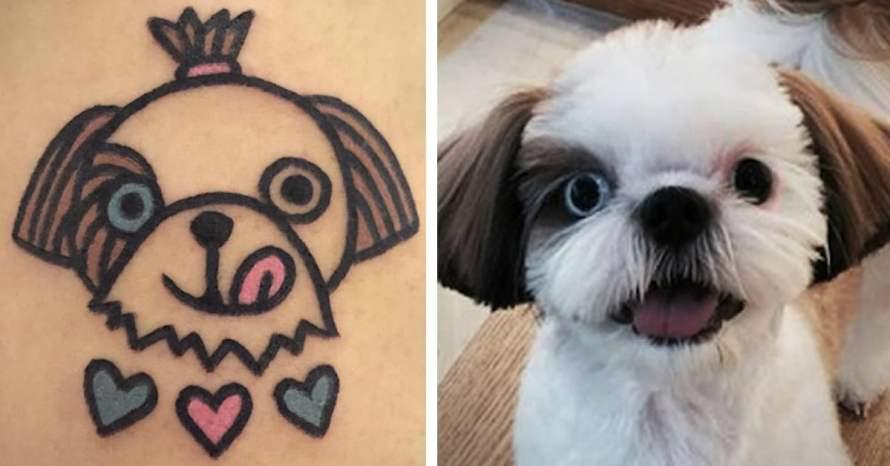 Tatuagem de cachorro Shihtzu