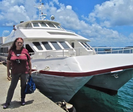 Me and the ferry, in Carriacou.